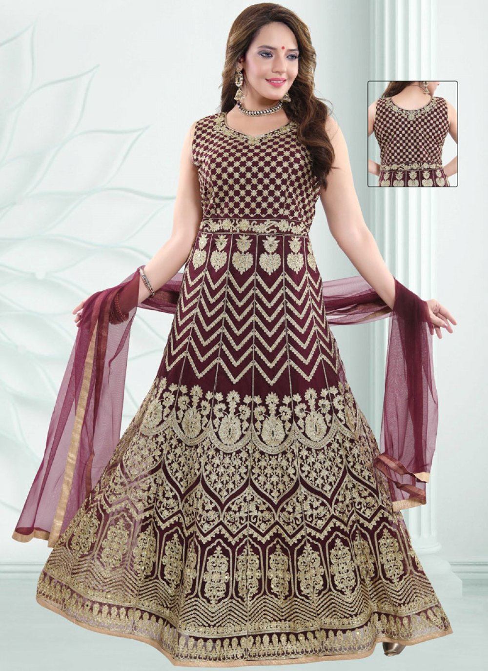 Net Embroidered Readymade Suit in Wine