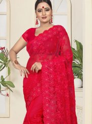 Net Embroidered Red Traditional Saree