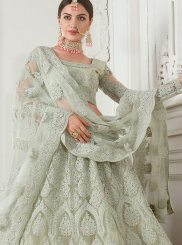 Net Embroidered Sea Green Designer Lehenga Choli
