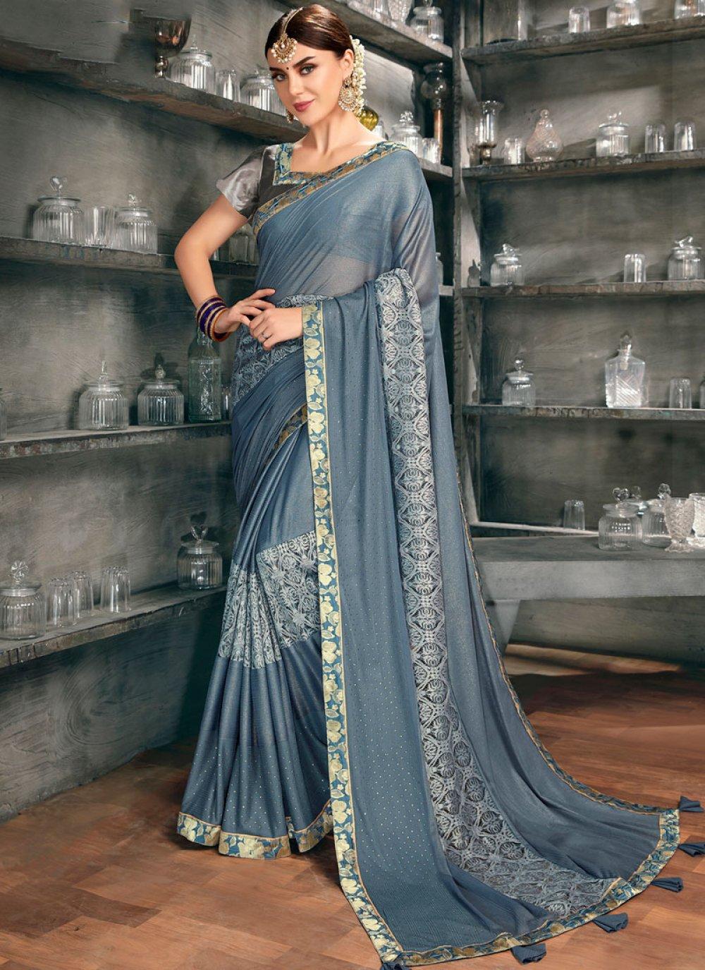 Net Embroidered Grey Designer Saree