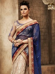 Net Embroidered Work Lehenga Sarees