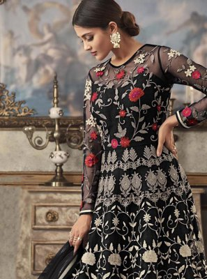 Net Floor Length Anarkali Suit in Black