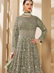 Net Floor Length Anarkali Suit in Grey