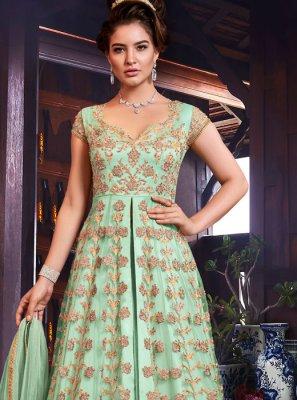 Net Floor Length Anarkali Suit in Sea Green