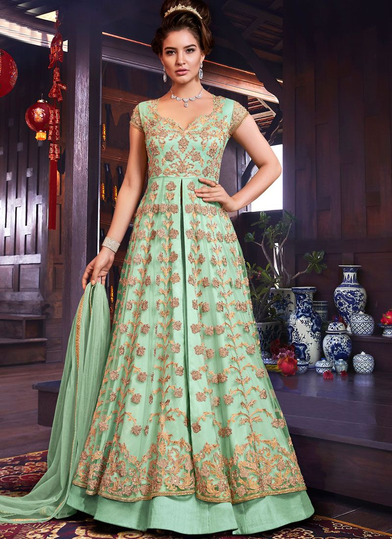 Net Floor Length Anarkali Suit in Sea Green