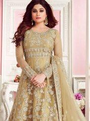 Net Gold Anarkali Suit