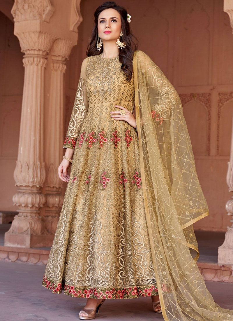 Net Gold Floor Length Anarkali Suit