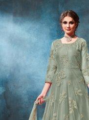 Net Green Embroidered Anarkali Salwar Kameez