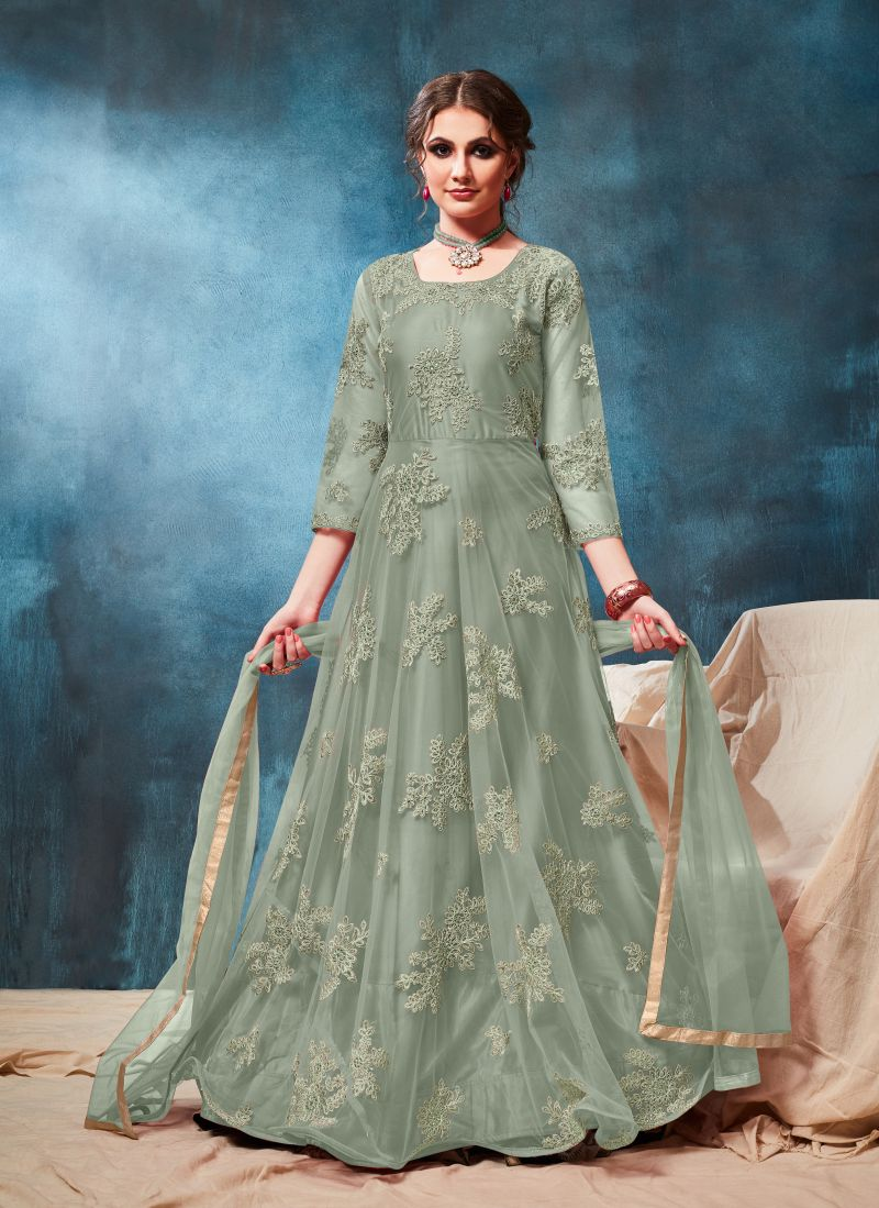 Net Green Embroidered Anarkali Salwar Kameez