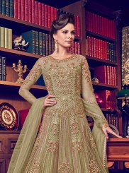 Net Green Embroidered Anarkali Salwar Suit