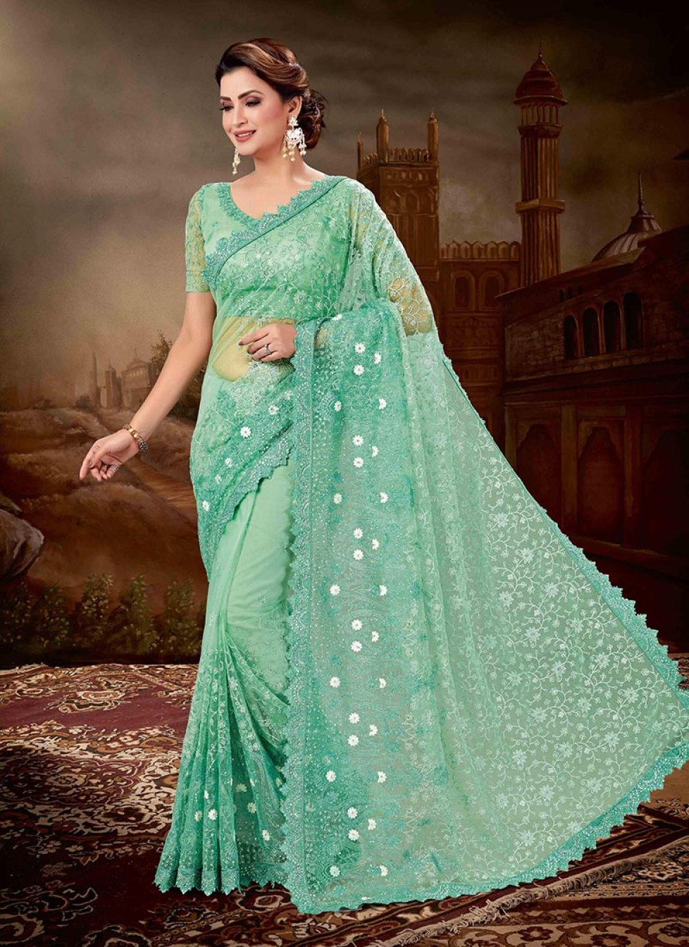 Net Green Embroidered Designer Saree