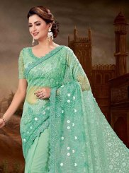 Net Green Embroidered Designer Saree