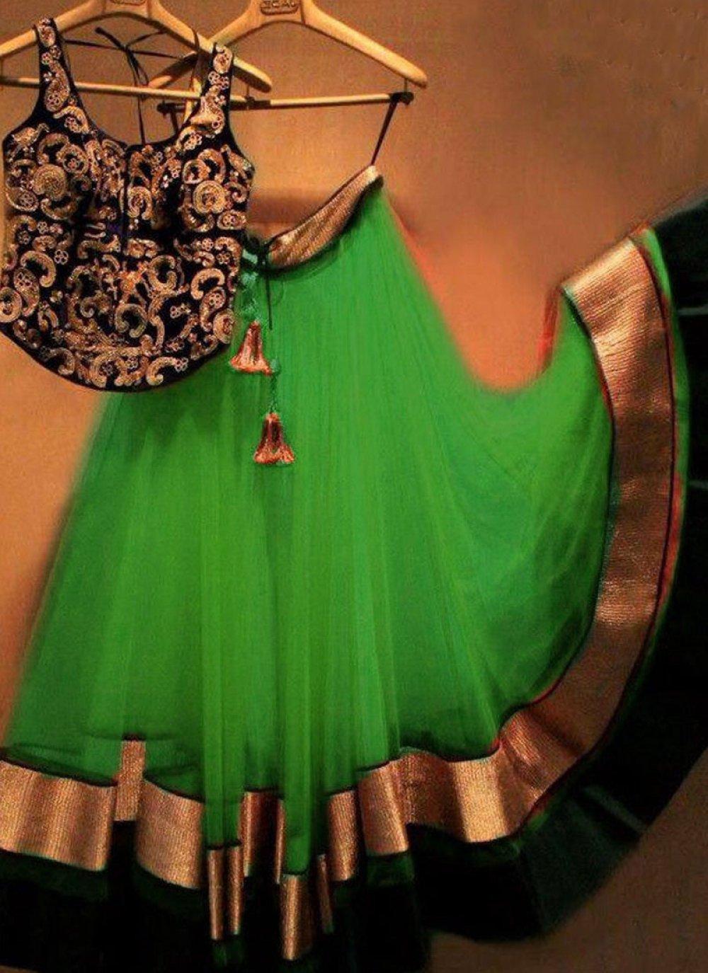Net Green Embroidered Work Designer Replica Lehenga Choli