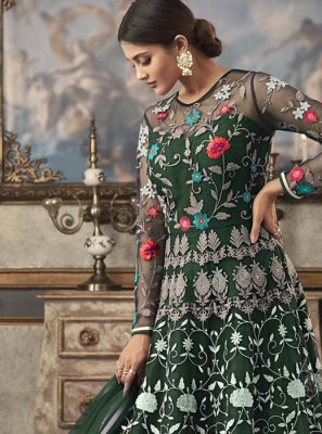 Net Green Floor Length Anarkali Suit