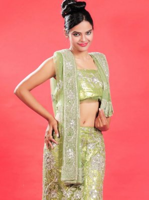 Net Green Patch Border Lehenga Choli