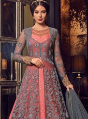 Net Grey and Pink Floor Length Anarkali Suit