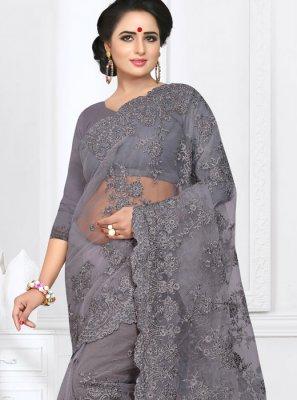 Net Grey Classic Saree