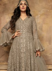 Net Grey Embroidered Anarkali Salwar Suit