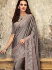 Net Grey Embroidered Designer Saree