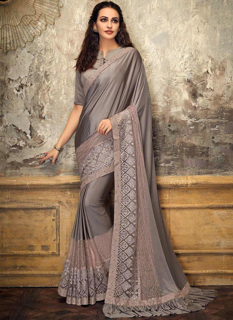 Net Grey Embroidered Designer Saree