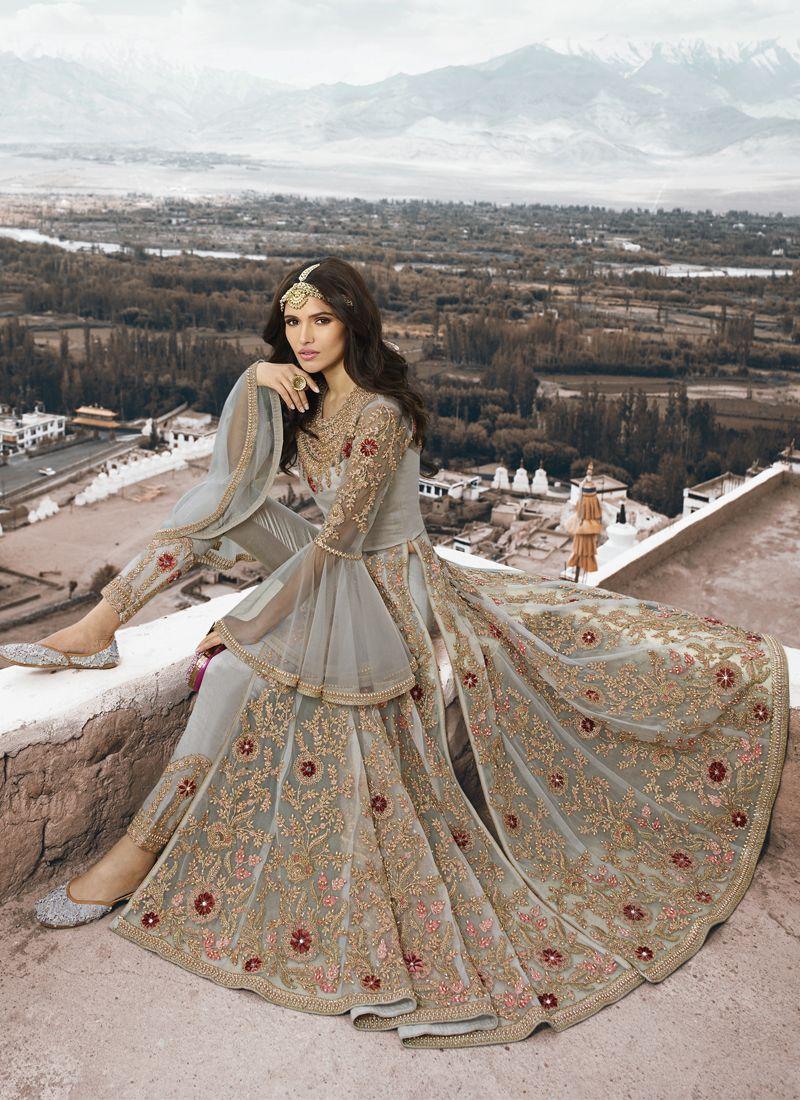 Net Grey Thread Work Designer Salwar Suit