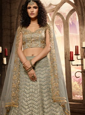 Net Grey Trendy A Line Lehenga Choli