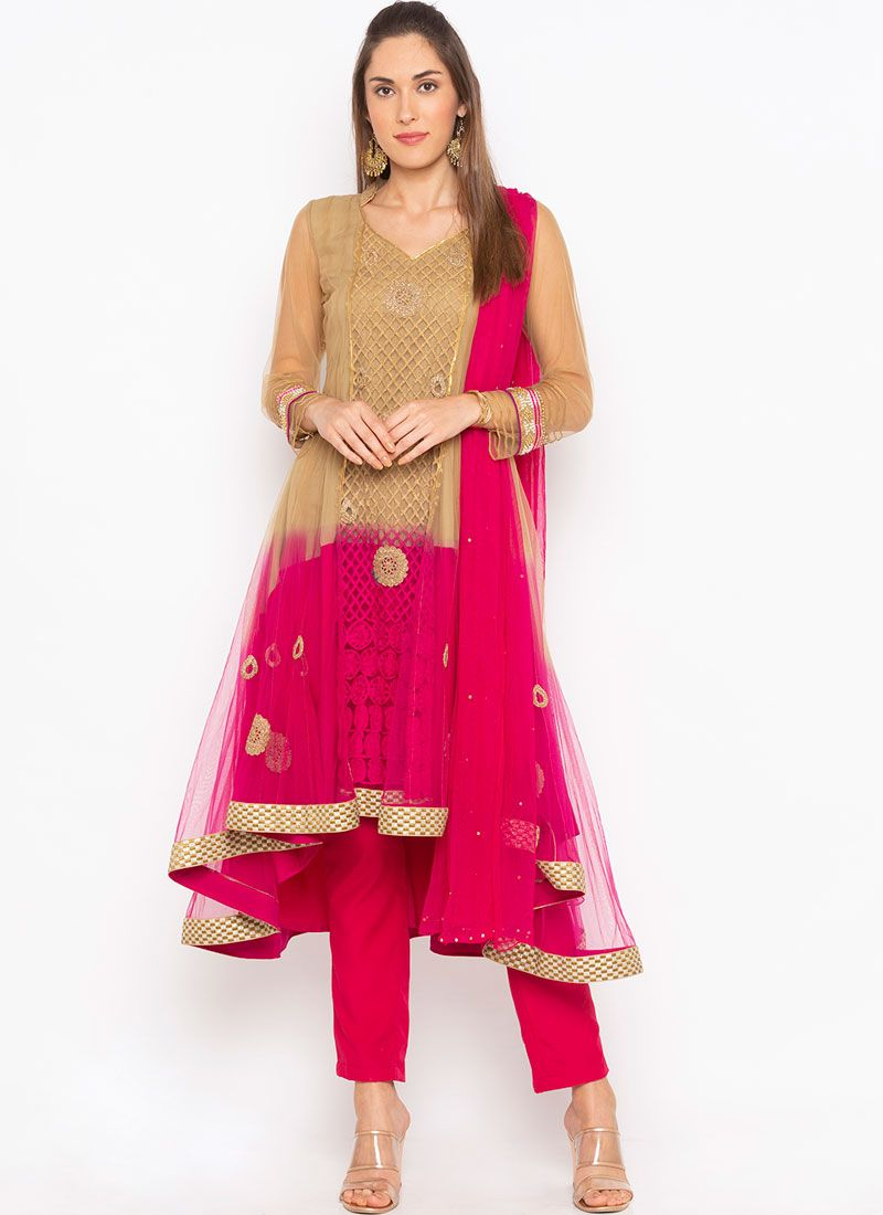 Net Hot Pink Readymade Suit