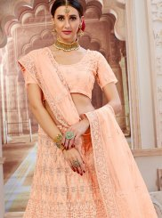 Net Lace Lehenga Choli in Peach