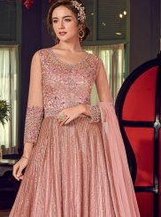 Net Lace Pink Floor Length Anarkali Suit