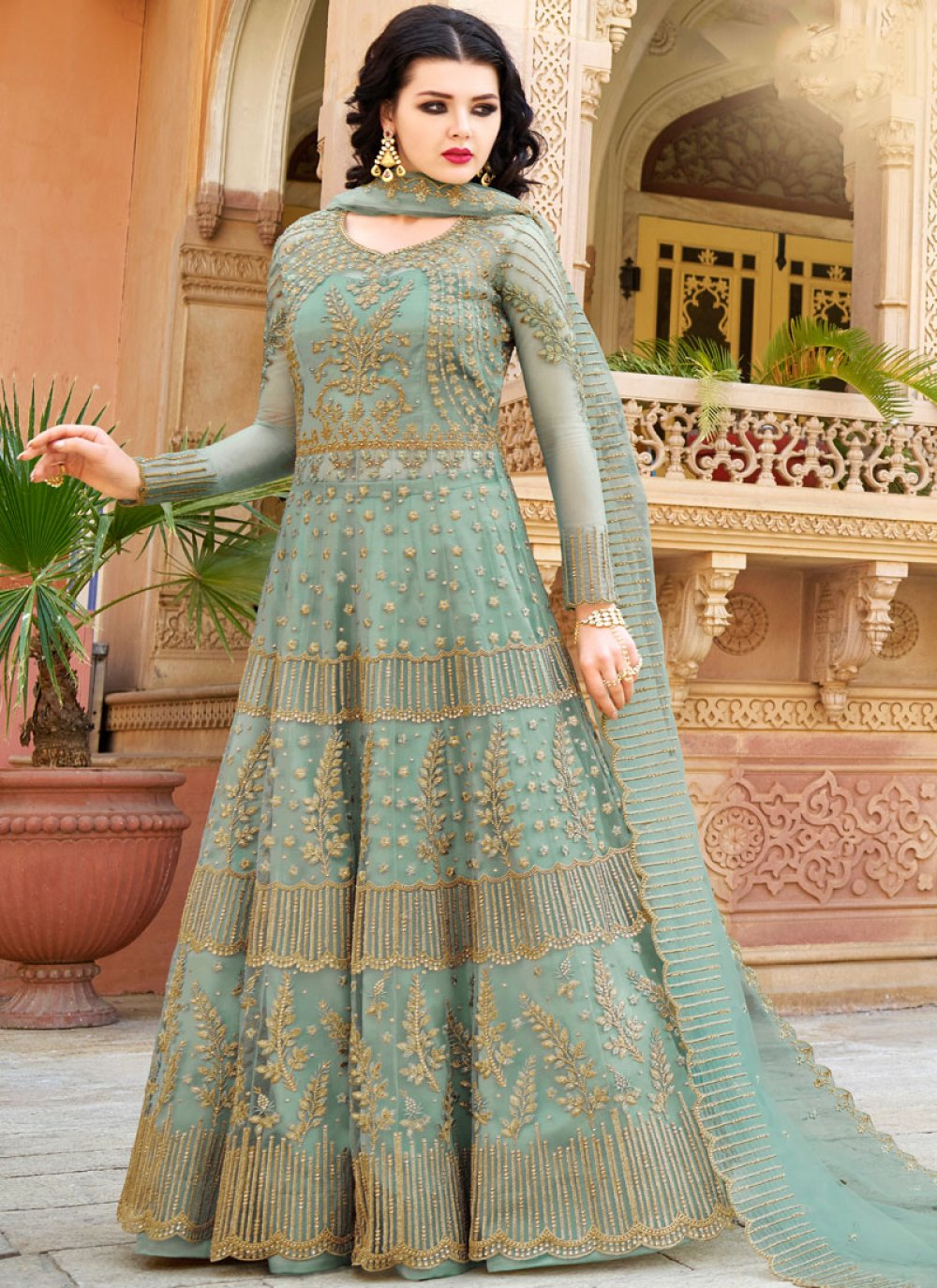 Net Lace Sea Green Long Choli Lehenga