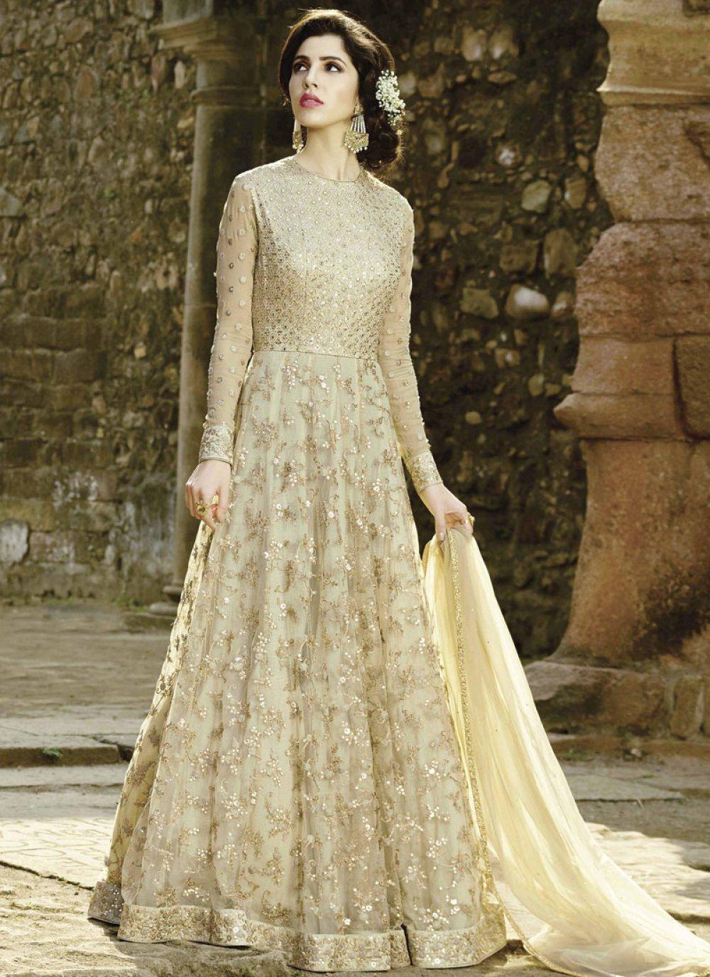Net Lace Work Floor Length Anarkali Suit