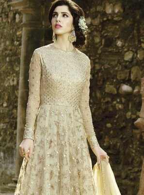 Net Lace Work Floor Length Anarkali Suit