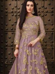 Net Lavender Anarkali Suit