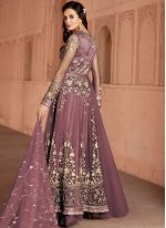 Net Lavender Embroidered Designer Salwar Suit