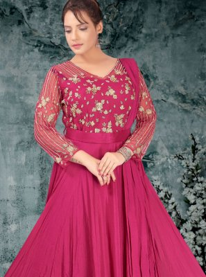 Net Magenta Embroidered Trendy Gown