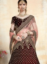 Net Maroon Embroidered A Line Lehenga Choli