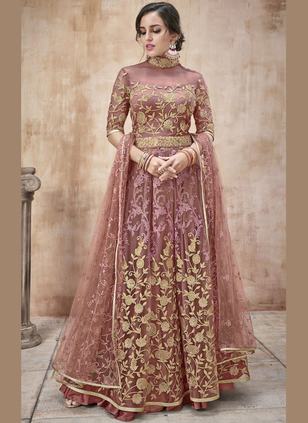 Net Mauve  Floor Length Anarkali Suit
