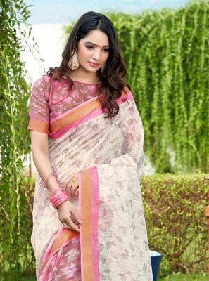 Net Multi Colour Abstract Print Printed Saree