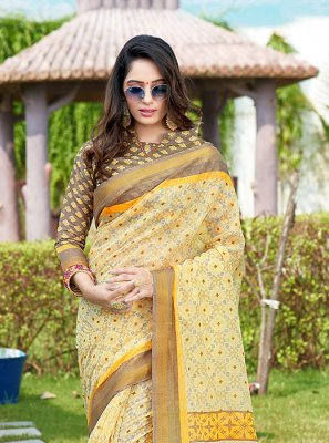 Net Multi Colour Printed Saree
