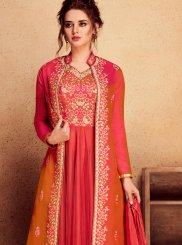 Net Orange and Red Resham Floor Length Anarkali Suit