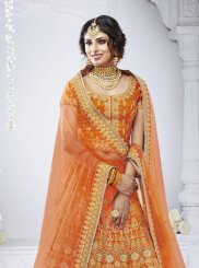 Net Orange Zari Designer Lehenga Choli