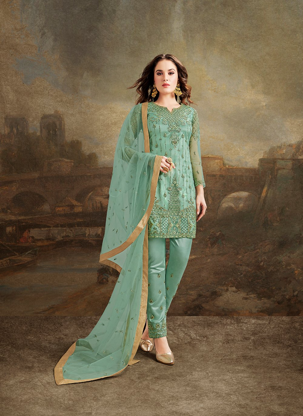 Net Pant Style Suit in Sea Green