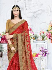 Net Patch Border Red Saree
