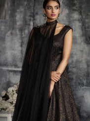 Net Patchwork Black Designer Gown