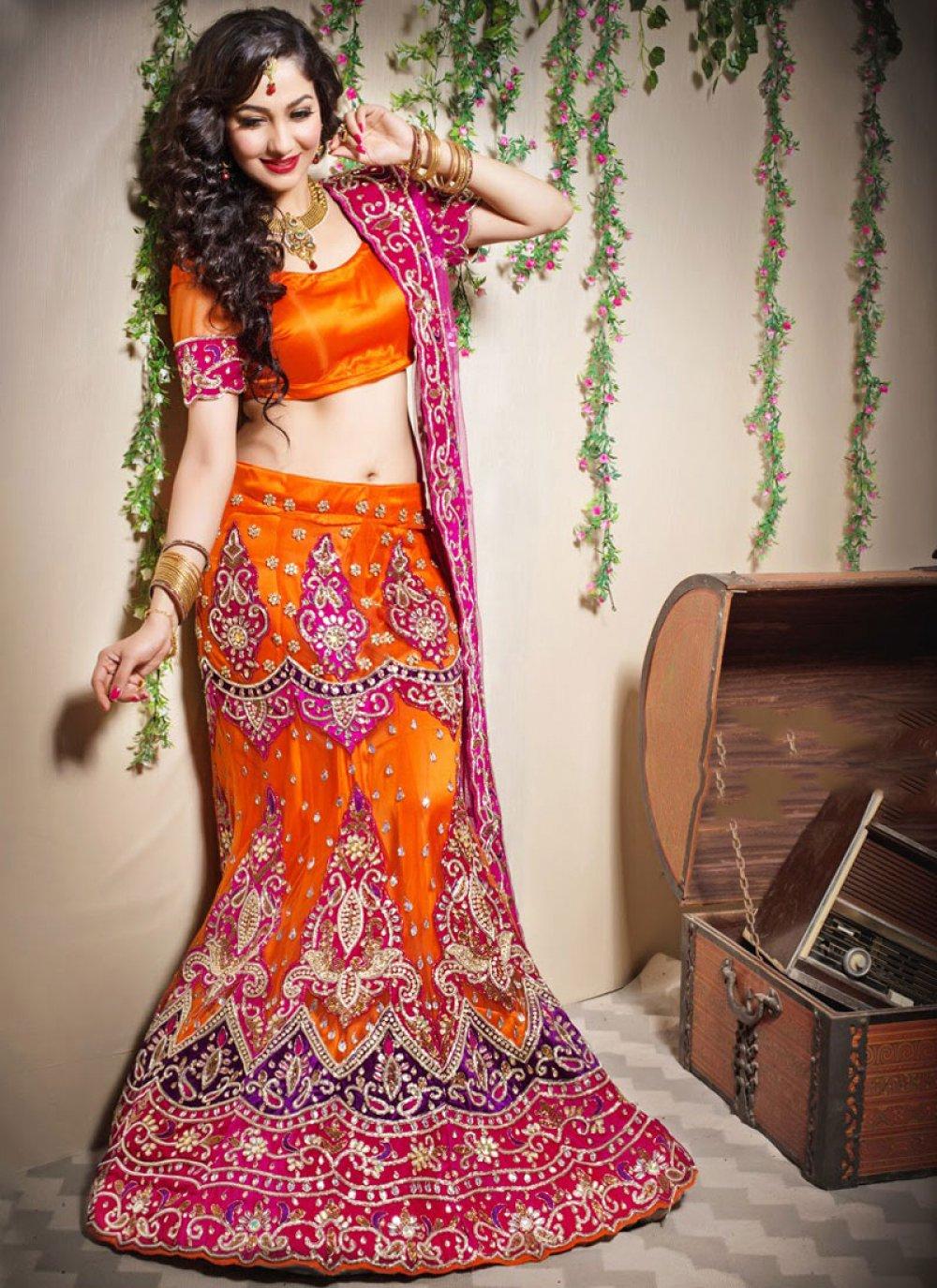 Net Patchwork Orange Designer Lehenga Choli