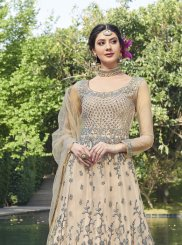 Net Peach Anarkali Suit