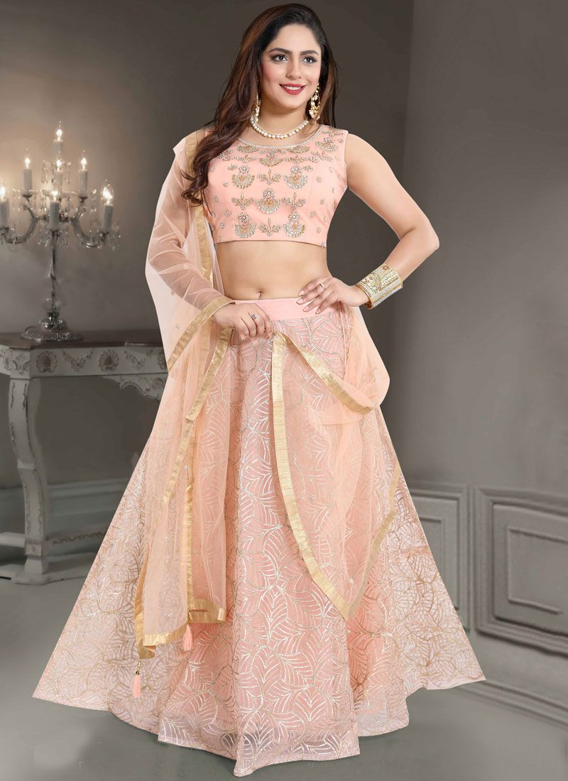 Net Peach Handwork Readymade Lehenga Choli
