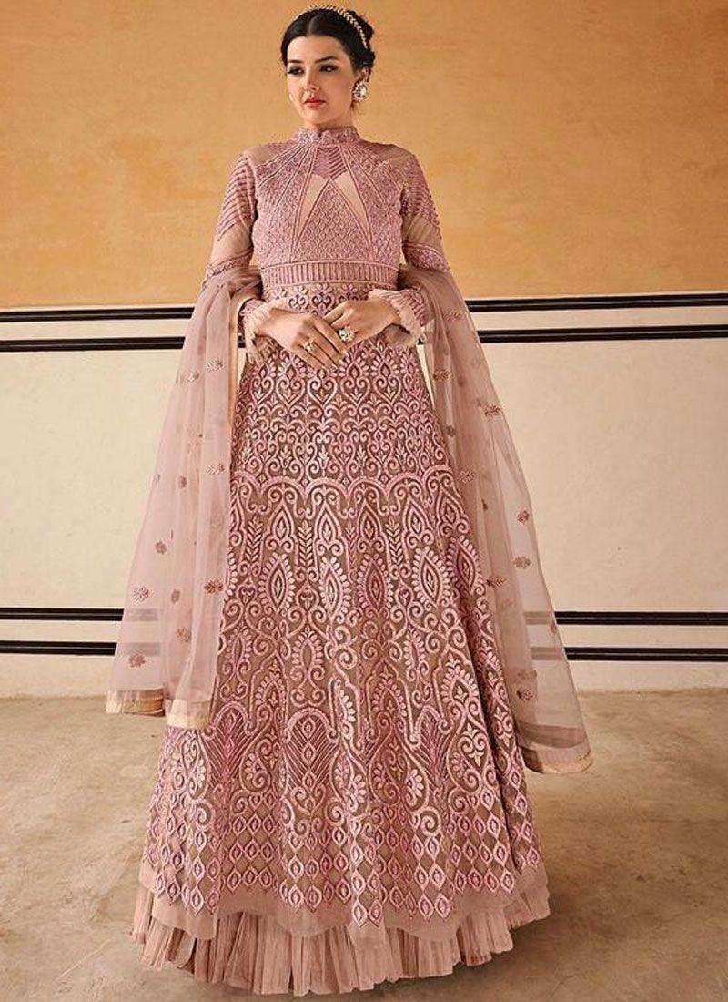 Net Pink Anarkali Salwar Suit