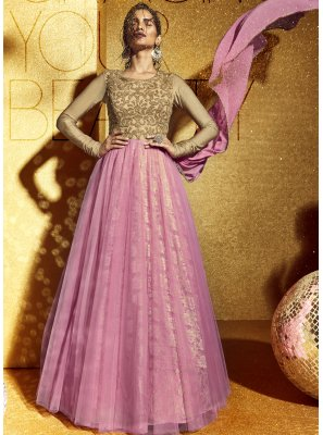 Net Pink Anarkali Suit