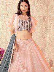 Net Pink Designer A Line Lehenga Choli